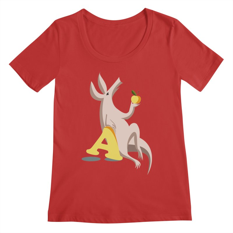 Aardvark and apple (To eat or not to eat) Women's Scoop Neck by kouzza's Artist Shop