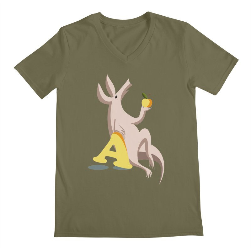 Aardvark and apple (To eat or not to eat) Men's Regular V-Neck by kouzza's Artist Shop