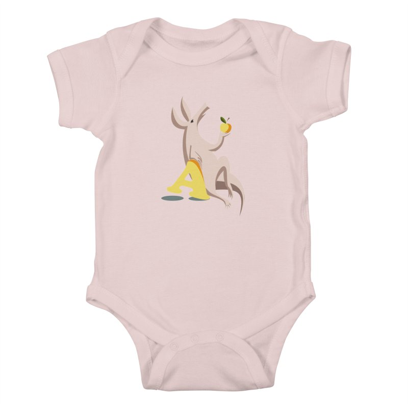 Aardvark and apple (To eat or not to eat) Kids Baby Bodysuit by kouzza's Artist Shop