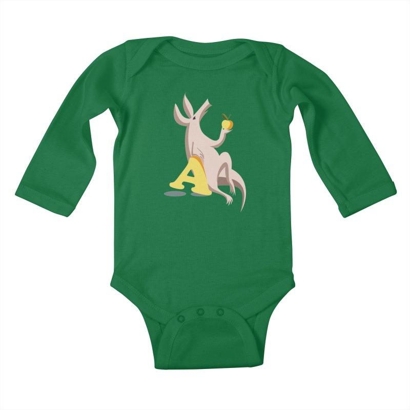 Aardvark and apple (To eat or not to eat) Kids Baby Longsleeve Bodysuit by kouzza's Artist Shop