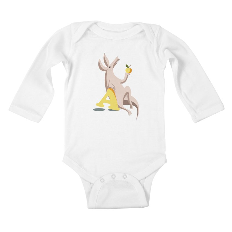 Aardvark and apple (To eat or not to eat) Kids Baby Longsleeve Bodysuit by kouzza's Artist Shop