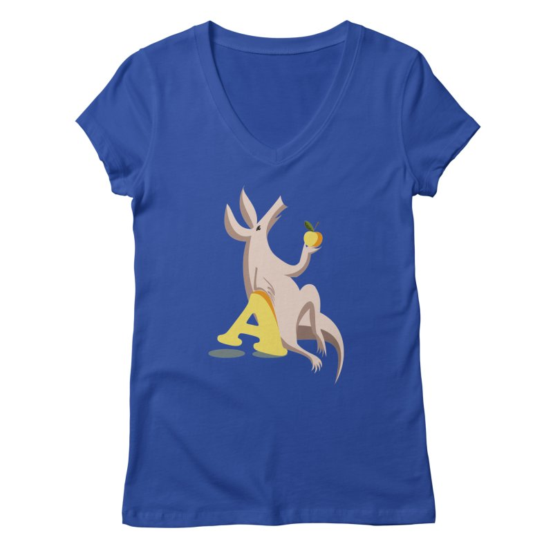 Aardvark and apple (To eat or not to eat) Women's V-Neck by kouzza's Artist Shop
