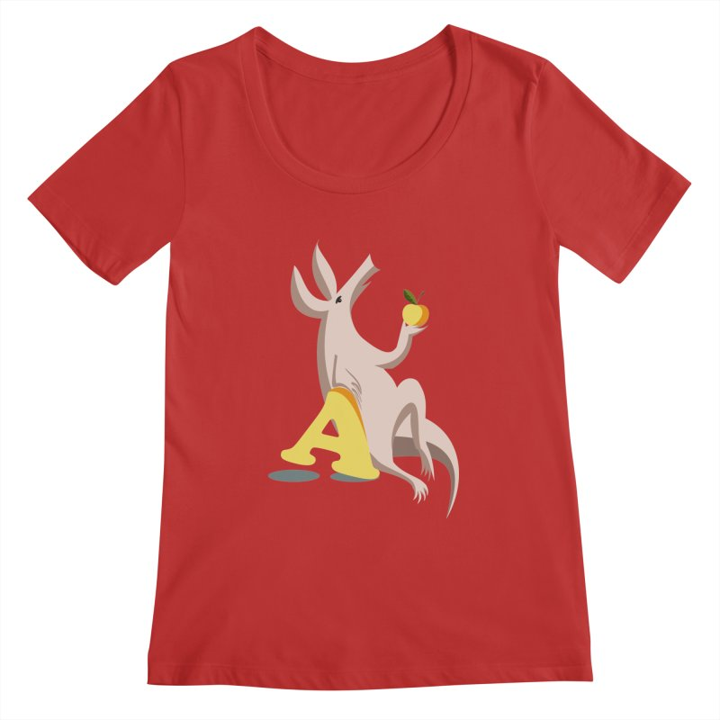 Aardvark and apple (To eat or not to eat) Women's Regular Scoop Neck by kouzza's Artist Shop