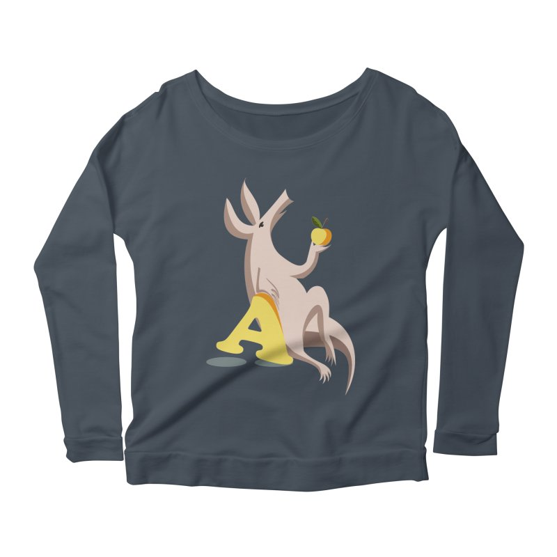 Aardvark and apple (To eat or not to eat) Women's Scoop Neck Longsleeve T-Shirt by kouzza's Artist Shop