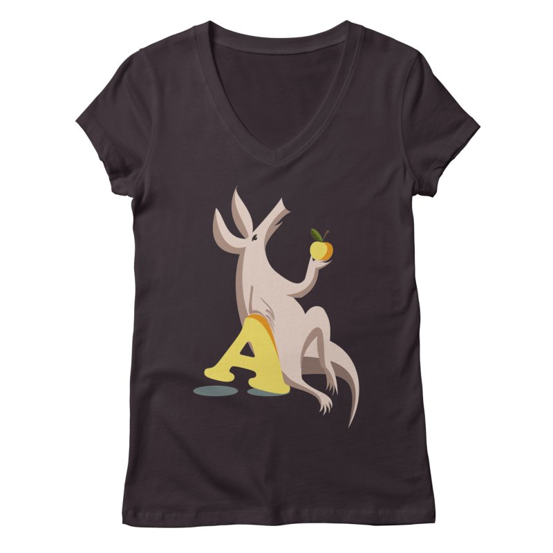 Aardvark and apple (To eat or not to eat) Women's Regular V-Neck by kouzza's Artist Shop
