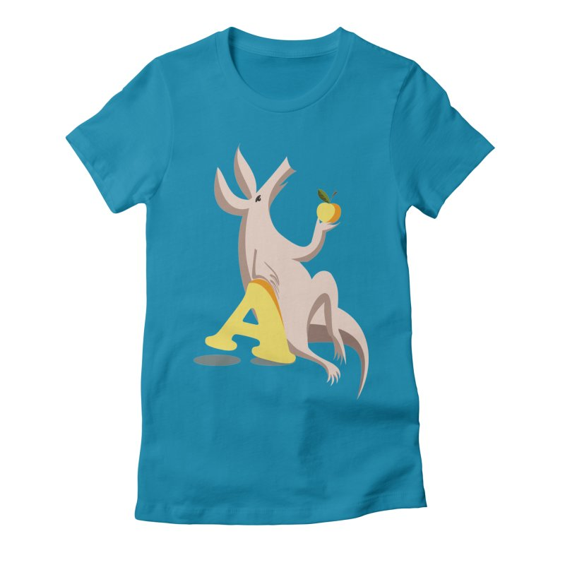 Aardvark and apple (To eat or not to eat) Women's Fitted T-Shirt by kouzza's Artist Shop