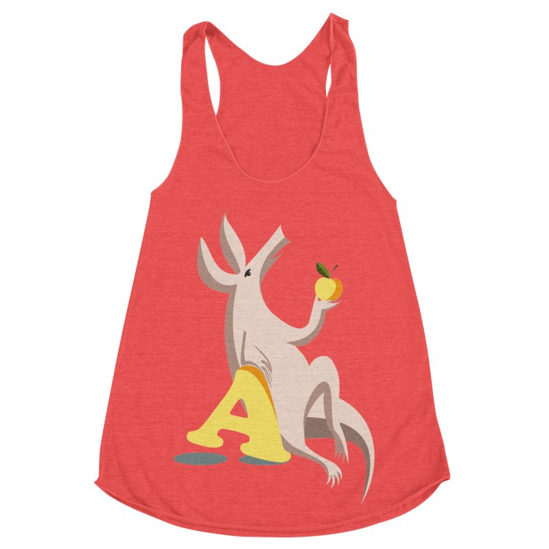 Aardvark and apple (To eat or not to eat) Women's Racerback Triblend Tank by kouzza's Artist Shop