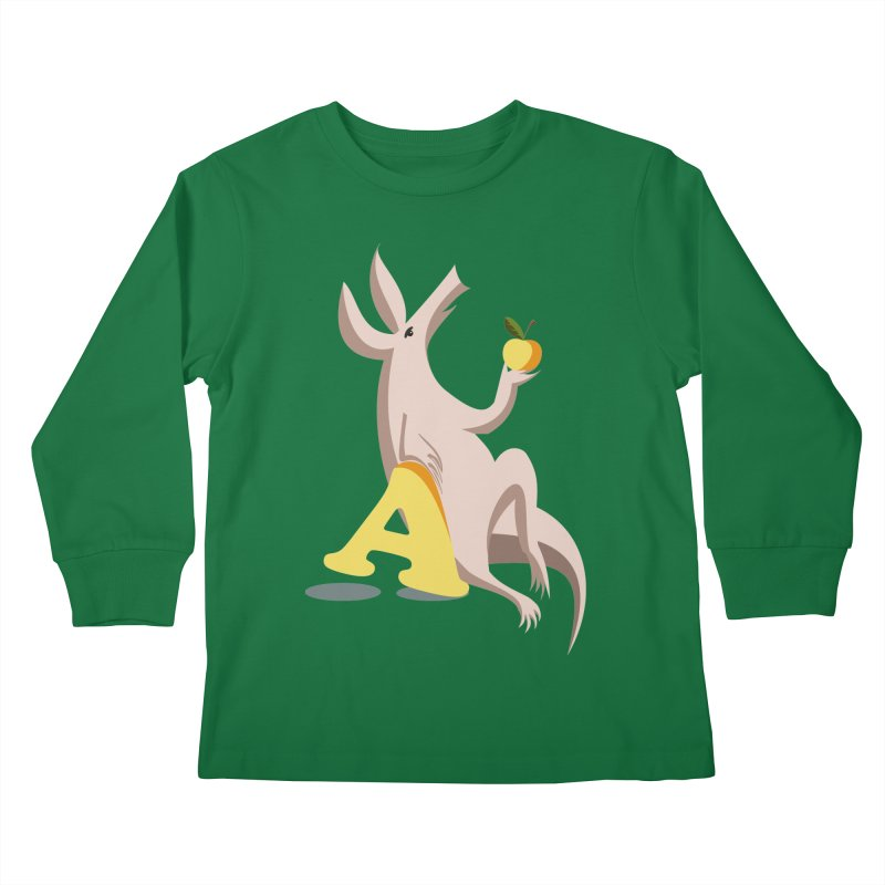 Aardvark and apple (To eat or not to eat) Kids Longsleeve T-Shirt by kouzza's Artist Shop