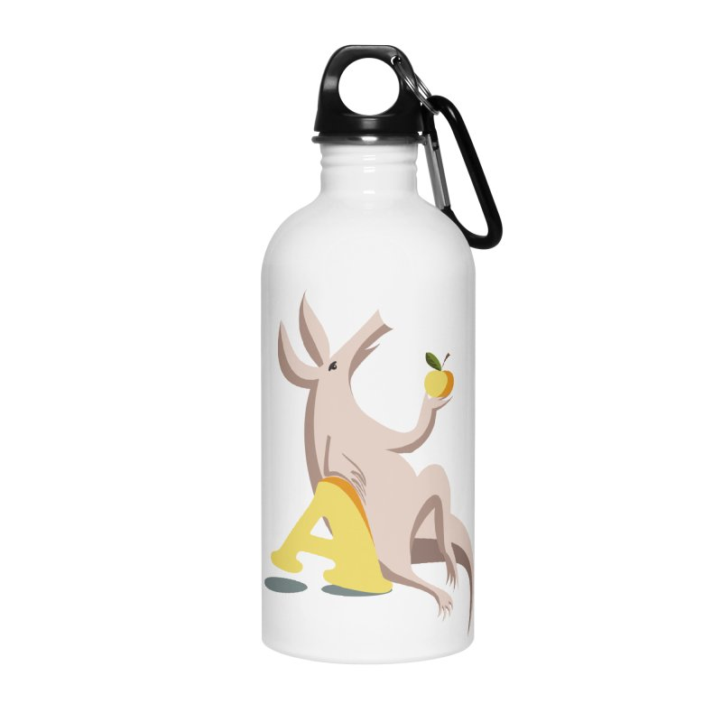 Aardvark and apple (To eat or not to eat) Accessories Water Bottle by kouzza's Artist Shop