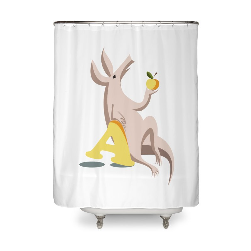 Aardvark and apple (To eat or not to eat) Home Shower Curtain by kouzza's Artist Shop