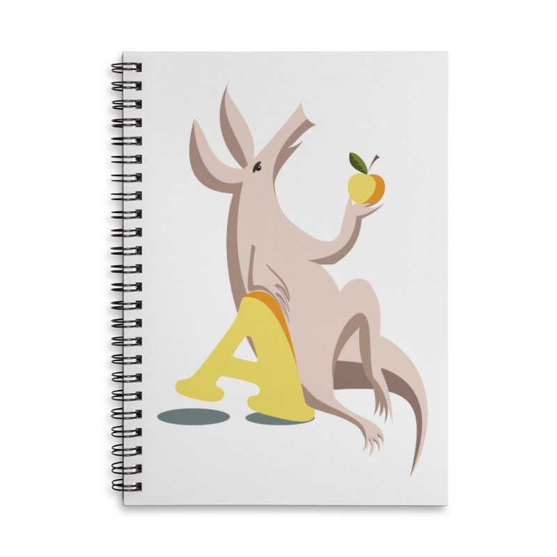 Aardvark and apple (To eat or not to eat) Accessories Lined Spiral Notebook by kouzza's Artist Shop