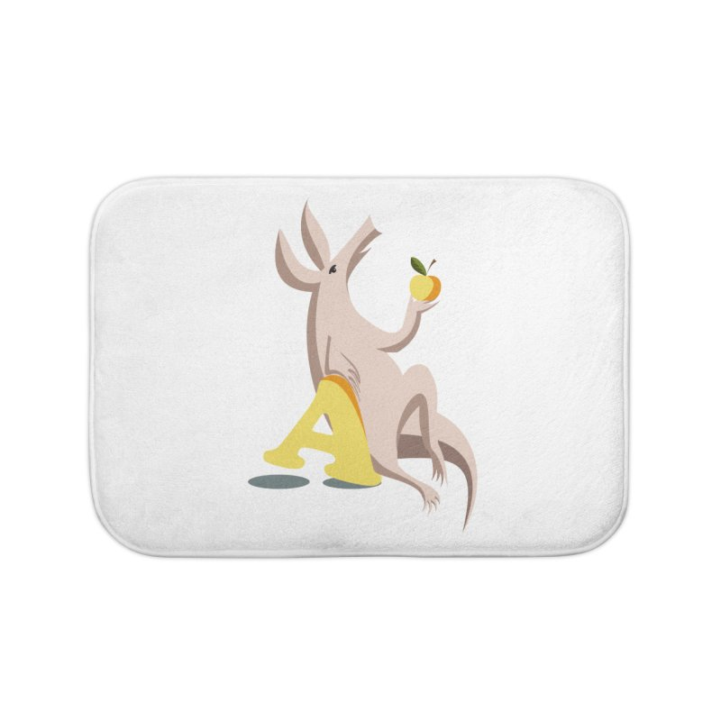 Aardvark and apple (To eat or not to eat) Home Bath Mat by kouzza's Artist Shop