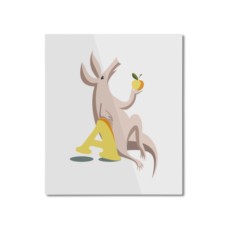Aardvark and apple (To eat or not to eat) Home Mounted Aluminum Print by kouzza's Artist Shop