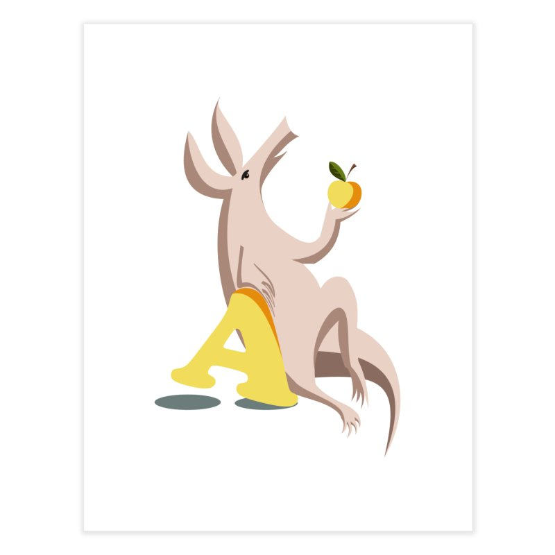 Aardvark and apple (To eat or not to eat) Home Fine Art Print by kouzza's Artist Shop