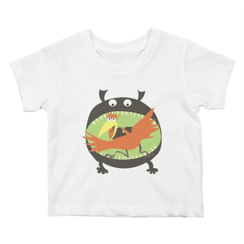 Bird eating monster Kids Baby T-Shirt by kouzza's Artist Shop
