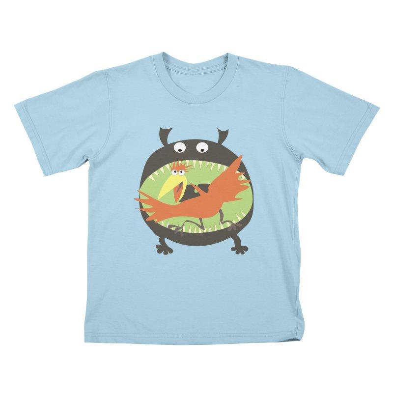 Bird eating monster Kids T-Shirt by kouzza's Artist Shop