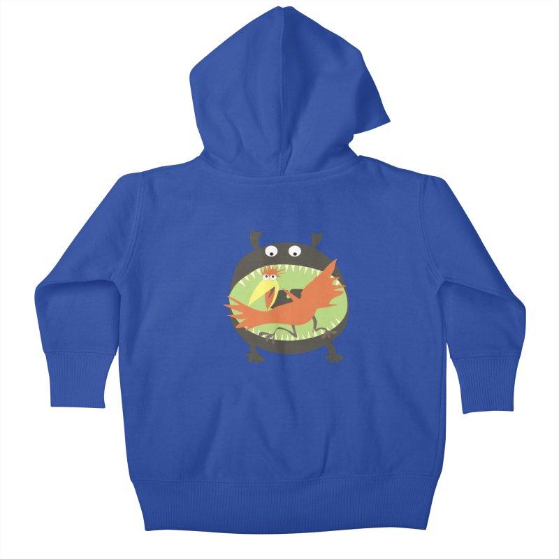 Bird eating monster Kids Baby Zip-Up Hoody by kouzza's Artist Shop