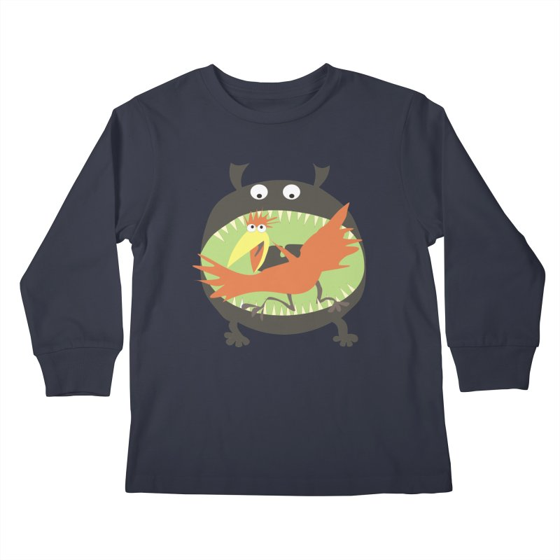 Bird eating monster Kids Longsleeve T-Shirt by kouzza's Artist Shop
