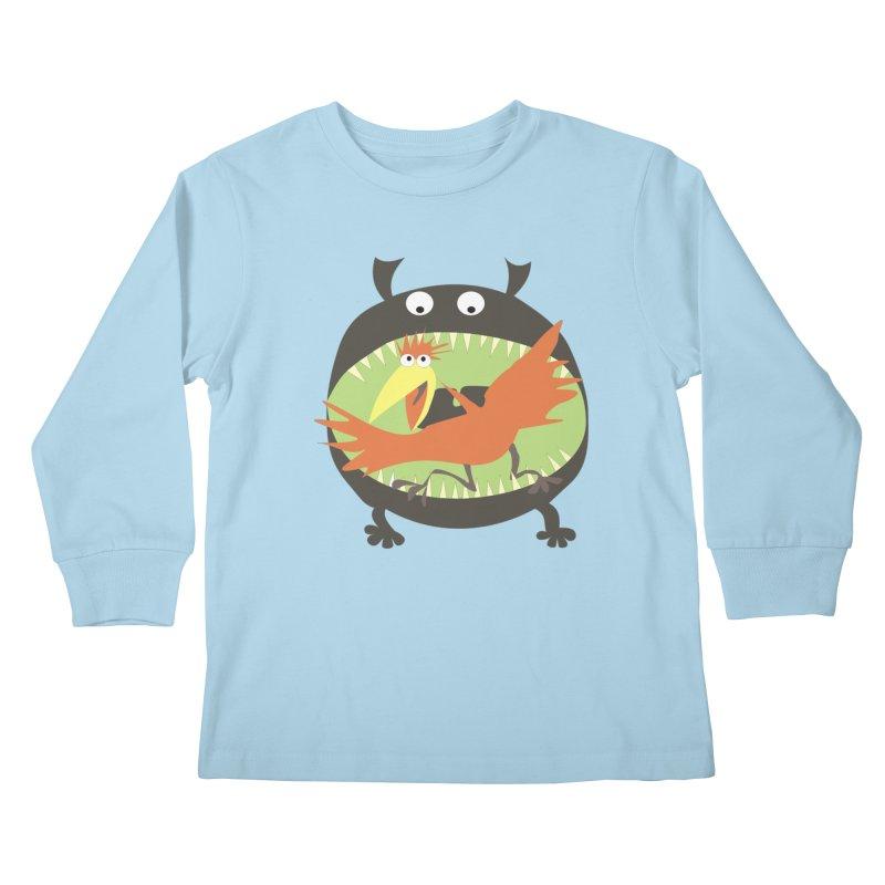 Bird eating monster Kids Longsleeve T-Shirt by kouzza's Artist Shop