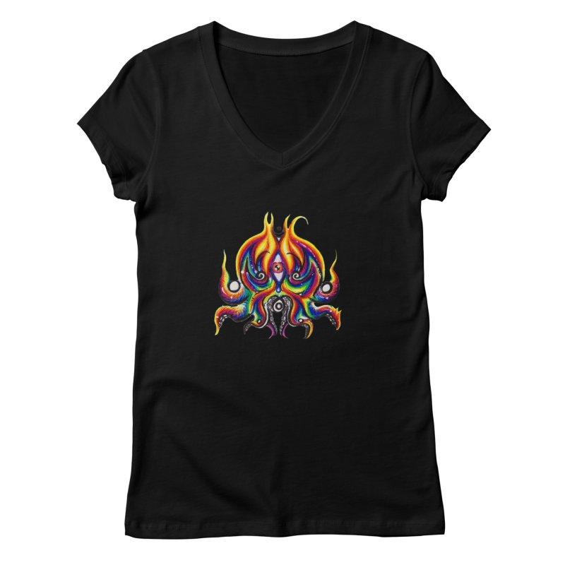 OktoSkull Women's V-Neck by Krakens Lair's Artist Shop