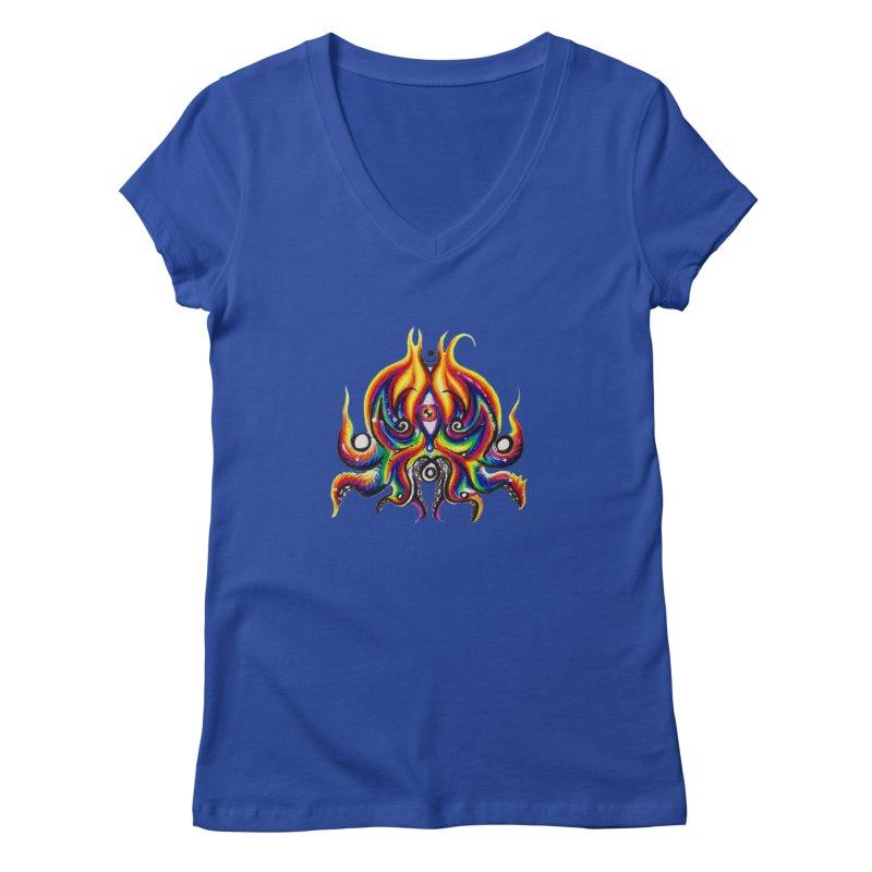 OktoSkull Women's Regular V-Neck by Krakens Lair's Artist Shop