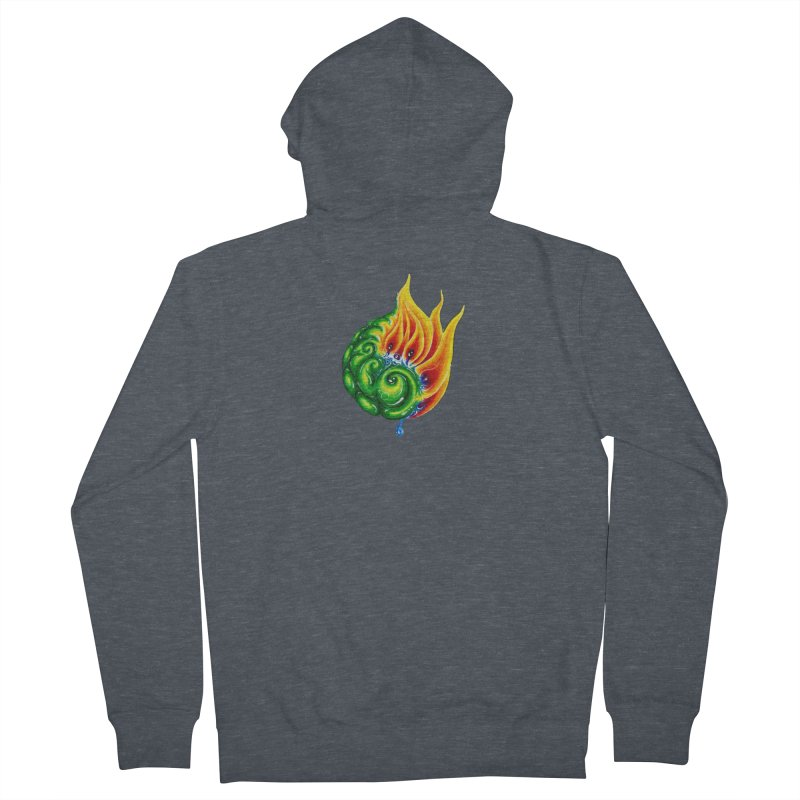 foxFire(fire&leaf3) Women's French Terry Zip-Up Hoody by Krakens Lair's Artist Shop