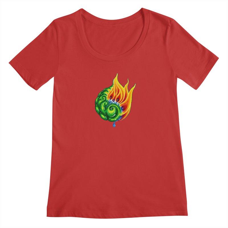 foxFire(fire&leaf3) Women's Regular Scoop Neck by Krakens Lair's Artist Shop