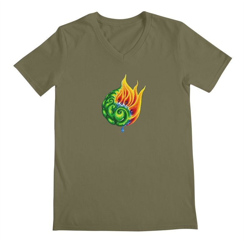 foxFire(fire&leaf3) Men's Regular V-Neck by Krakens Lair's Artist Shop