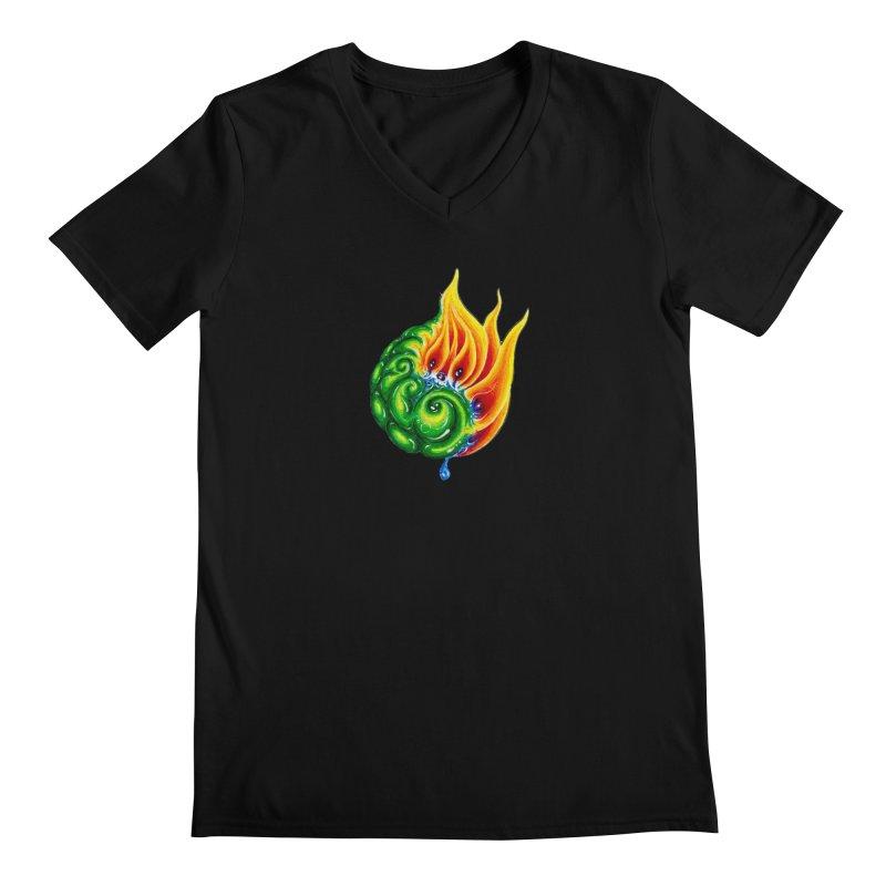 foxFire(fire&leaf3) Men's Regular V-Neck by Krakens Lair's Artist Shop