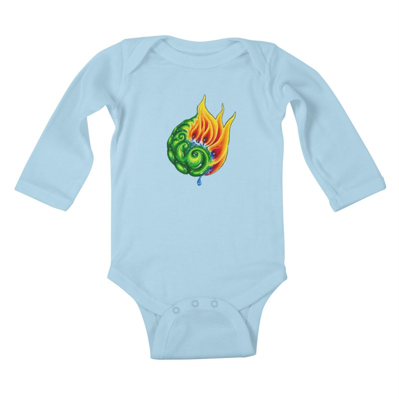 foxFire(fire&leaf3) Kids Baby Longsleeve Bodysuit by Krakens Lair's Artist Shop