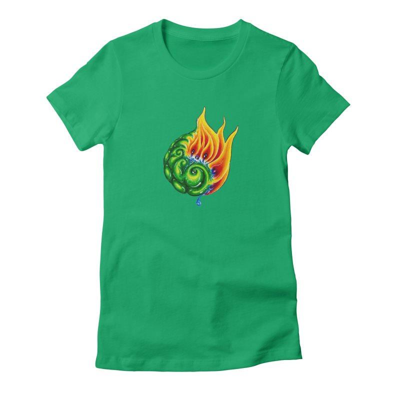 foxFire(fire&leaf3) Women's Fitted T-Shirt by Krakens Lair's Artist Shop