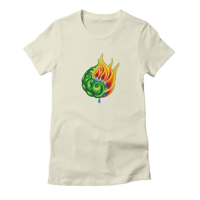 foxFire(fire&leaf3) Women's Fitted T-Shirt by Krakens Lair's Artist Shop