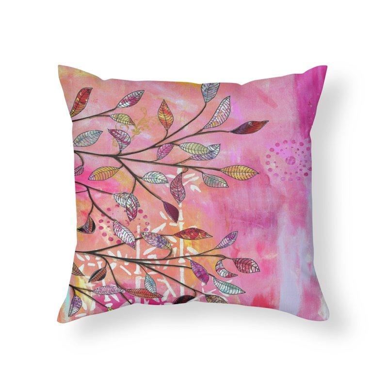 Pink branch Home Throw Pillow by krasarts' Artist Shop Threadless