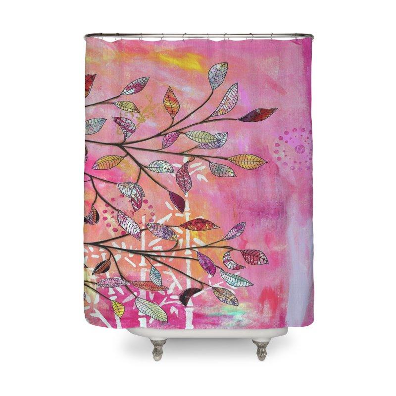 Pink branch Home Shower Curtain by krasarts' Artist Shop Threadless