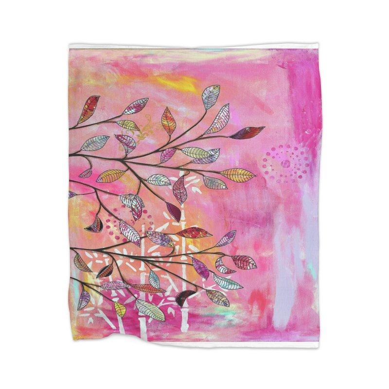 Pink branch Home Blanket by krasarts' Artist Shop Threadless