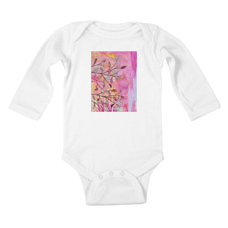 Pink branch Kids Baby Longsleeve Bodysuit by krasarts' Artist Shop Threadless