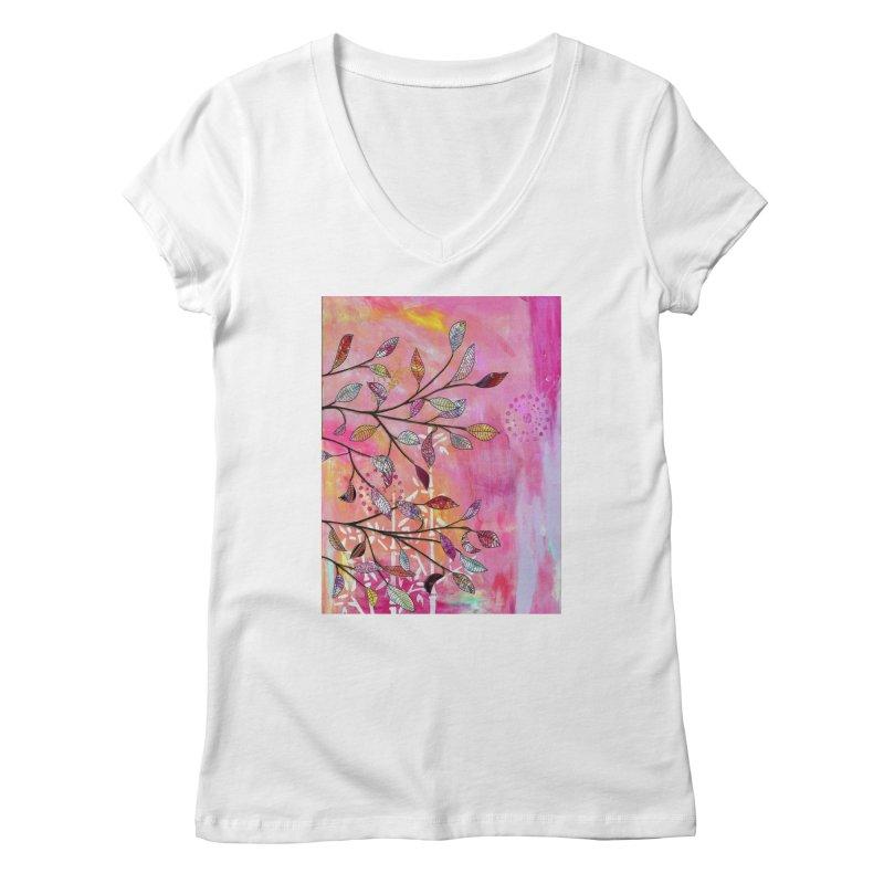 Pink branch Women's V-Neck by krasarts' Artist Shop Threadless