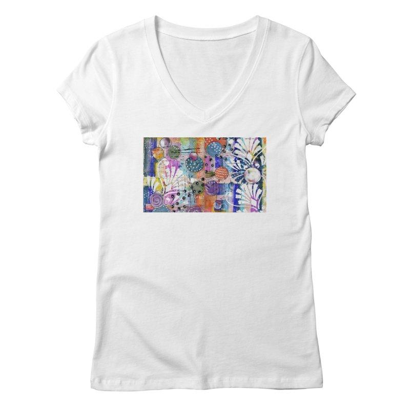 deep orange space Women's V-Neck by krasarts' Artist Shop Threadless