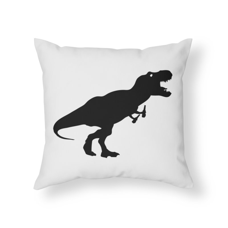 Double-fisting Dino Home Throw Pillow by Krawmart