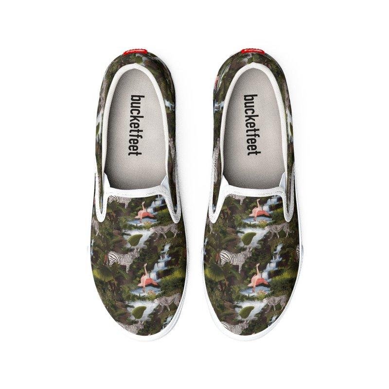 Green jungle with exotic animals Women's Shoes by Kreativkollektiv Friedlos und Streitsüchtig