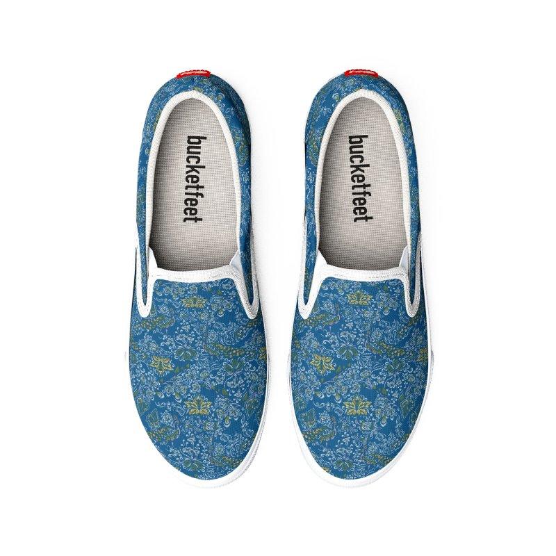 Folk art inspired flowers, plants, peacock Women's Shoes by Kreativkollektiv Friedlos und Streitsüchtig