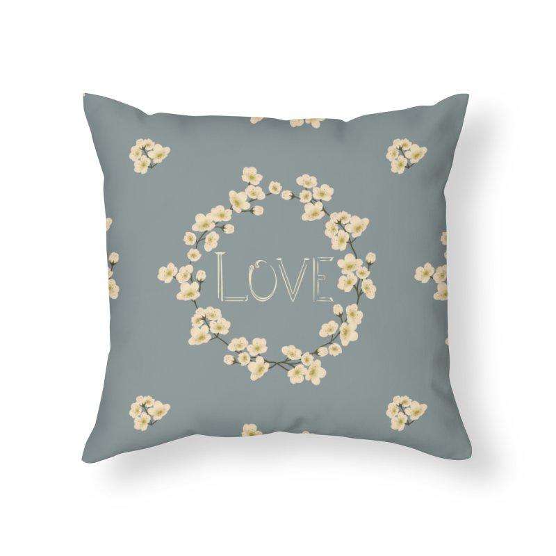 Floral, love Home Throw Pillow by Kreativkollektiv designs