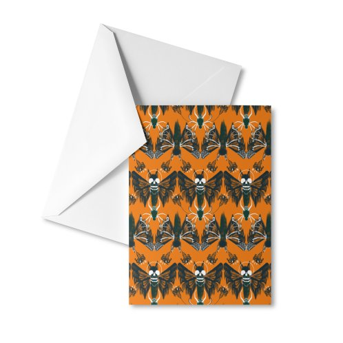 image for Halloween moth lace with skulls
