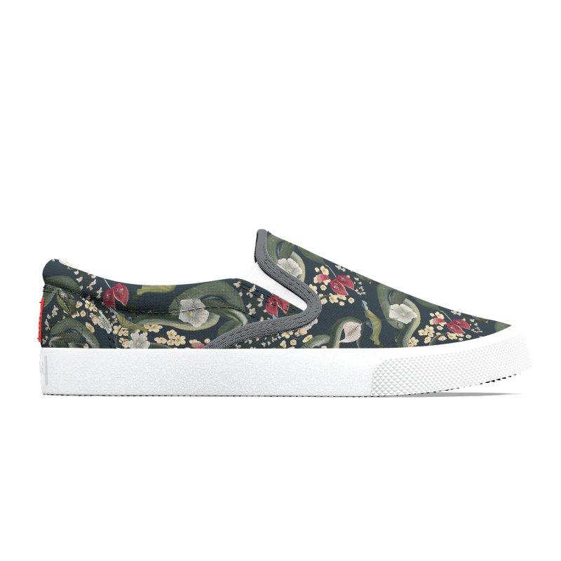 Green snakes, red blossoms and beautiful flora Women's Shoes by Kreativkollektiv Friedlos und Streitsüchtig