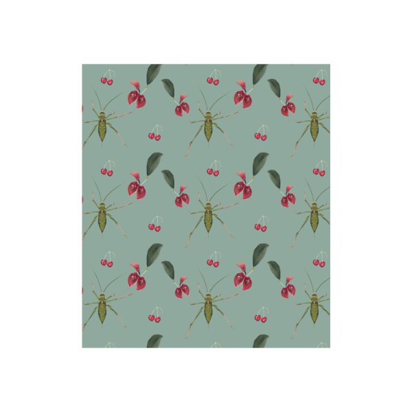 image for Bush-cricket , red blossoms and cherries