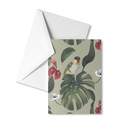 image for Beautiful parrot and monstera leaf