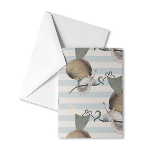 image for Beautiful snail and leaves, stripes