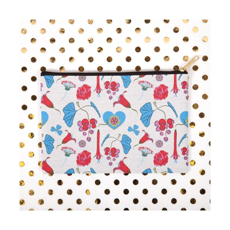 Bright flora and a blue heart Accessories Neck Gaiter by Kreativkollektiv designs