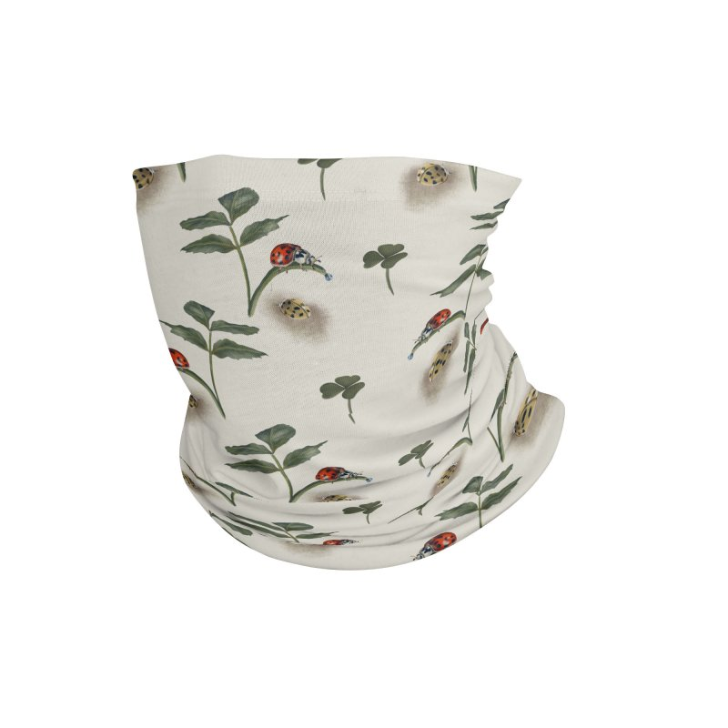 Two ladybugs, clover and pretty leaves Accessories Neck Gaiter by Kreativkollektiv designs
