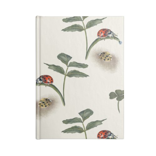 image for Two ladybugs, clover and pretty leaves